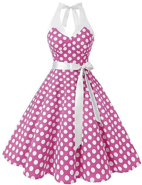 Dressystar mujeres Vintage lunares, Swing fiesta Picnic disfraz vestidos Halter Pink White Dot B XXL