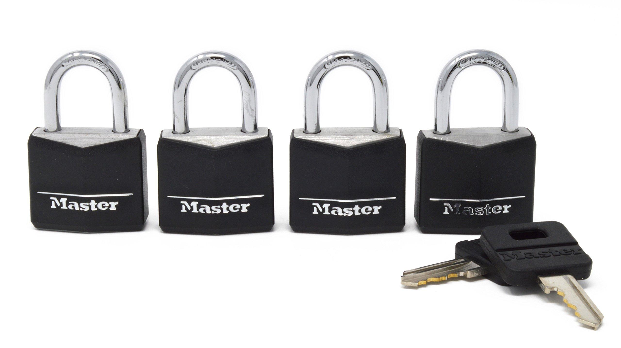 Master Lock Padlock, Covered Aluminum Lock, 1-3/16 in. Wide, Black, 131Q (Pack of 4-Keyed Alike)