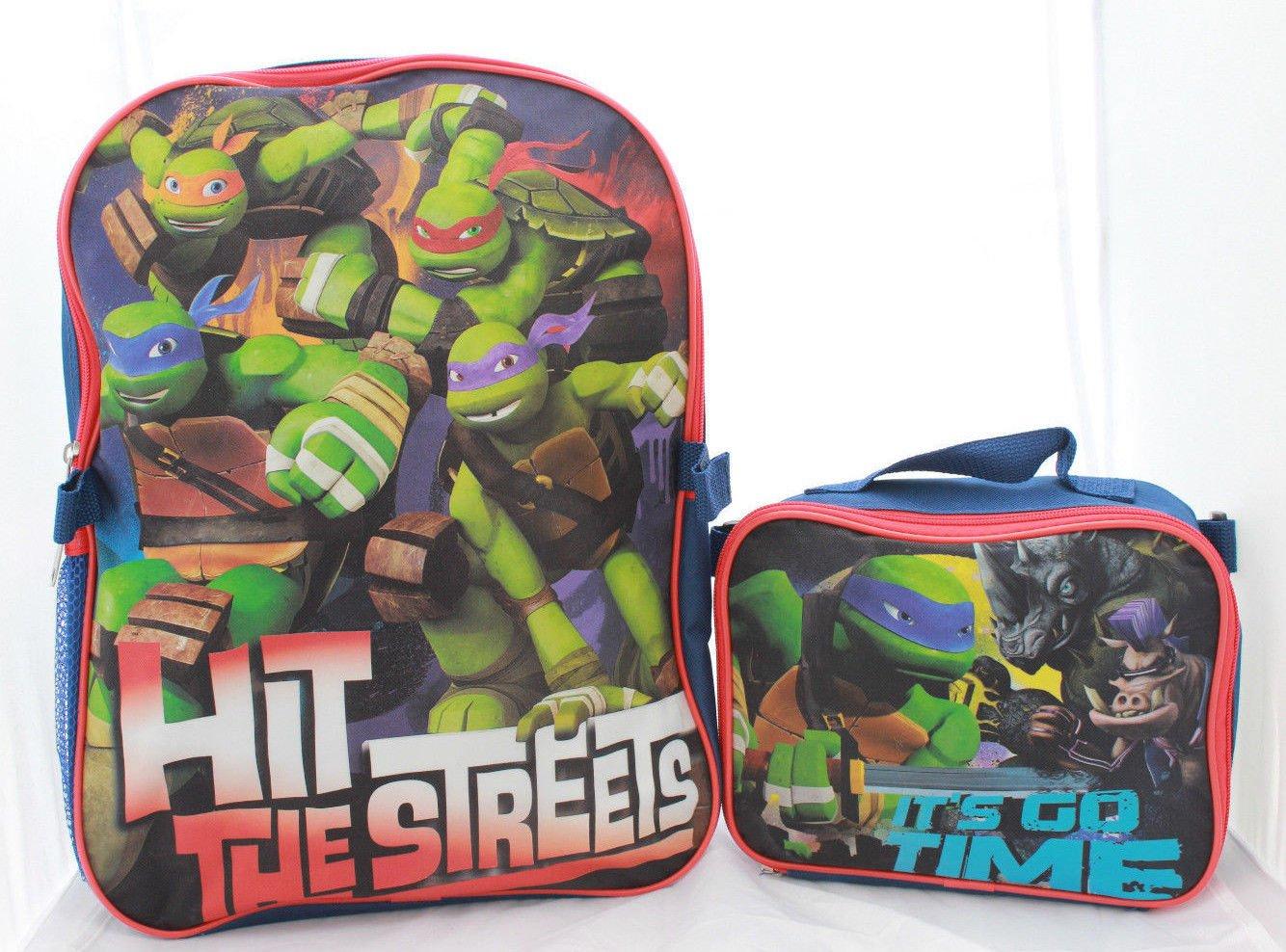 Ninja Turtles Backpack School BookBag with Lunch Box Set TMNT