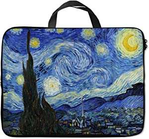Britimes Laptop Sleeve Case Protection Bag Waterproof Neoprene PC Cover Water Resistant Notebook Handle Carrying Computer Protector Van Gogh Starry Night 11 12 13 inches