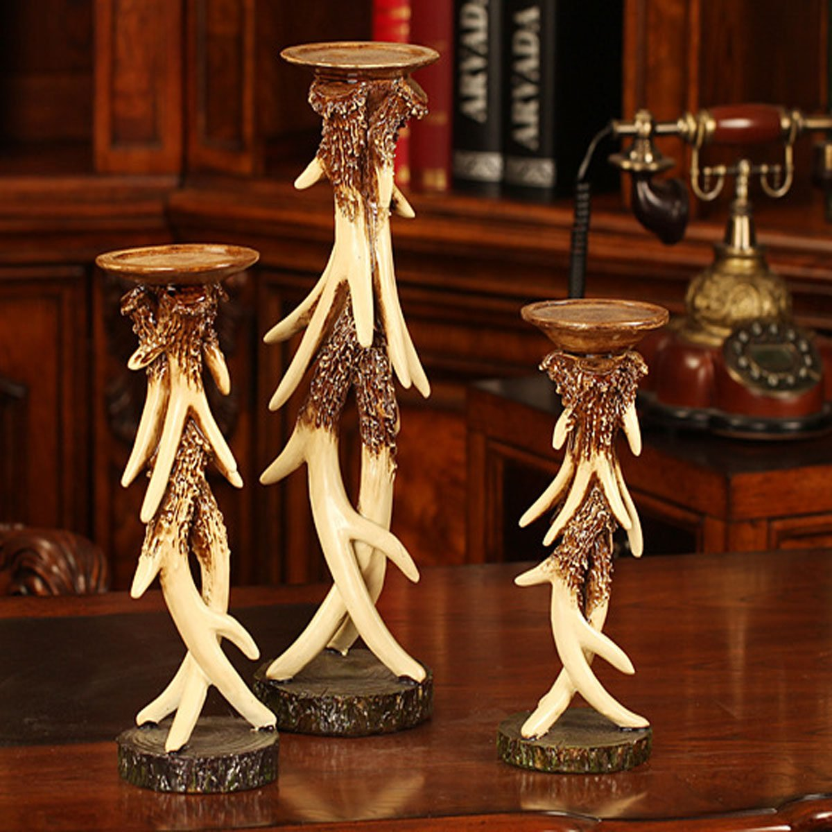 Elegant Vintage Resin Antlers Candlestick Carving Fine Crafts Pattern Wedding Decor Candle Holder Art Sculpture Three-piece Set by DEAI (Image #6)