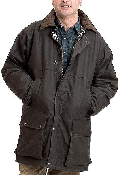 Real Life Fashion Ltd - Abrigo de algodón encerado para hombre, con capucha desmontable y cremallera: Amazon.es: Ropa y accesorios
