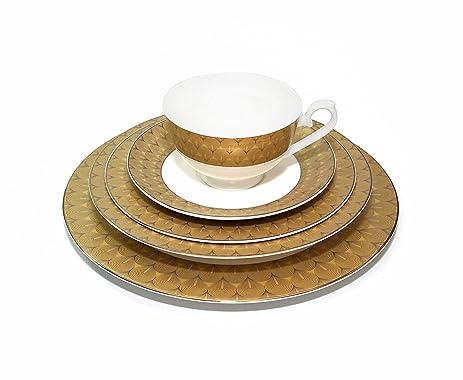 Royalty Porcelain u0026quot;Peacocku0026quot; 5-Piece Gold Dinnerware Set Bone China Porcelain  sc 1 st  Amazon.com & Amazon.com | Royalty Porcelain