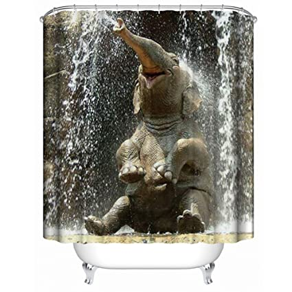 Ajingken Elephant Shower Curtain 3D Printing Digital Bath Decorations Curtains With Hooks 59x70 Inches