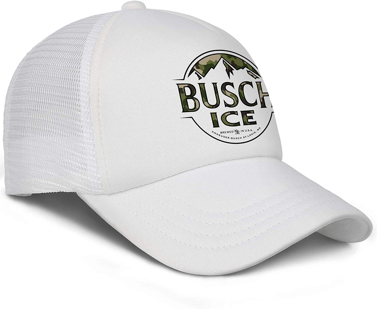 AOAOAOUV Men Unisex Adjustable Busch-Light-Beer-Black-Camouflage-Army-Side-Baseball Caps Youth Flat Hat
