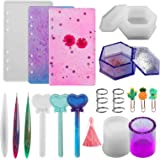 Funshowcase Notebook Covers Bookmarks Card Cover Silicone Resin Molds Epoxy Casting Set 87-kit with Book Rings Tassels Glitters Stickers Film Inlay Keychain