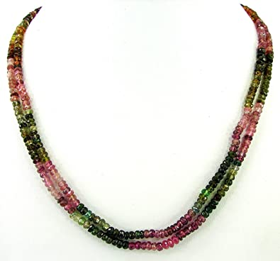 Buy 100 Ct Natural Pink Tourmaline Rondelle Beads Necklace