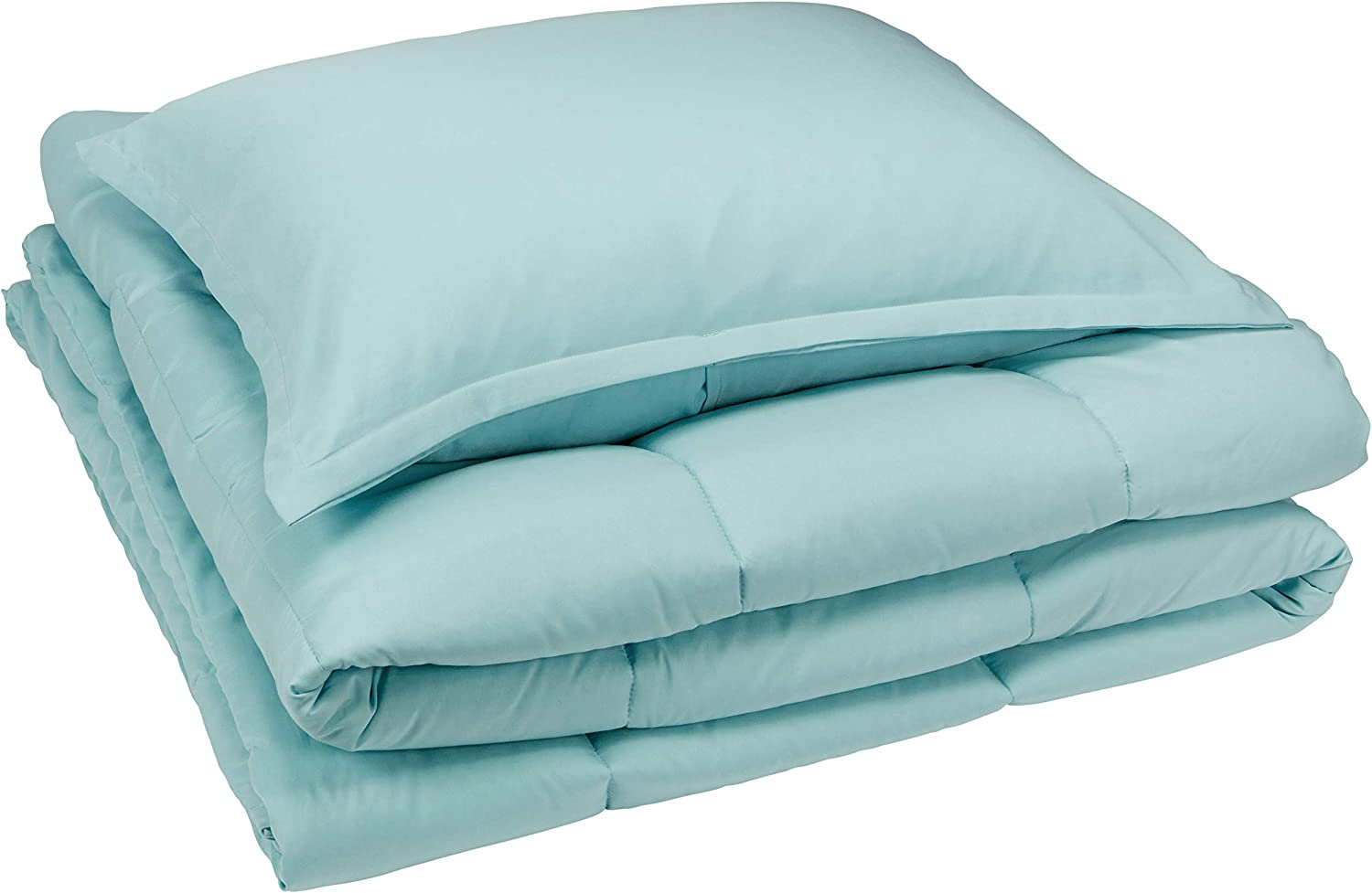 AmazonBasics Comforter Set, Twin / Twin XL, Sea Foam Green, Microfiber, Ultra-Soft