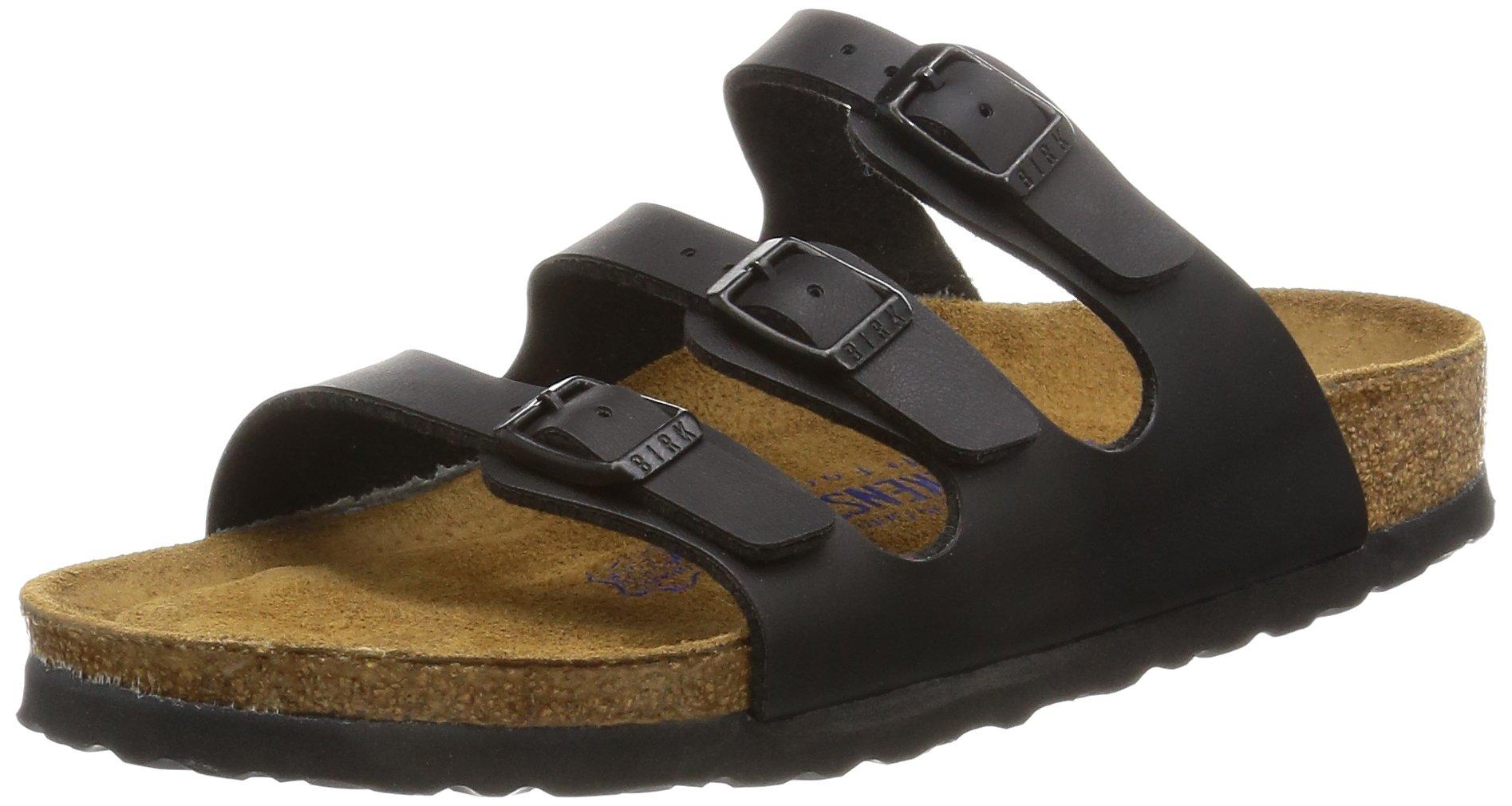 Birkenstock Women's Florida Soft Footbed Birko-Flor  Black Sandals - 38 M EU / 7-7.5 B(M) US