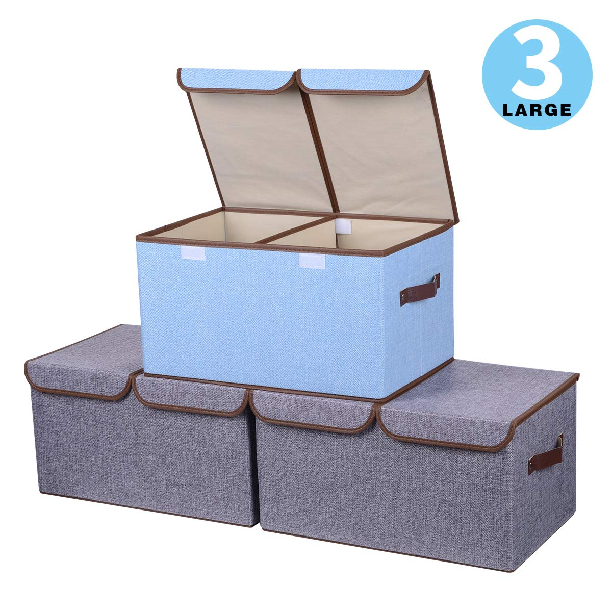 3 x fabric storage boxes