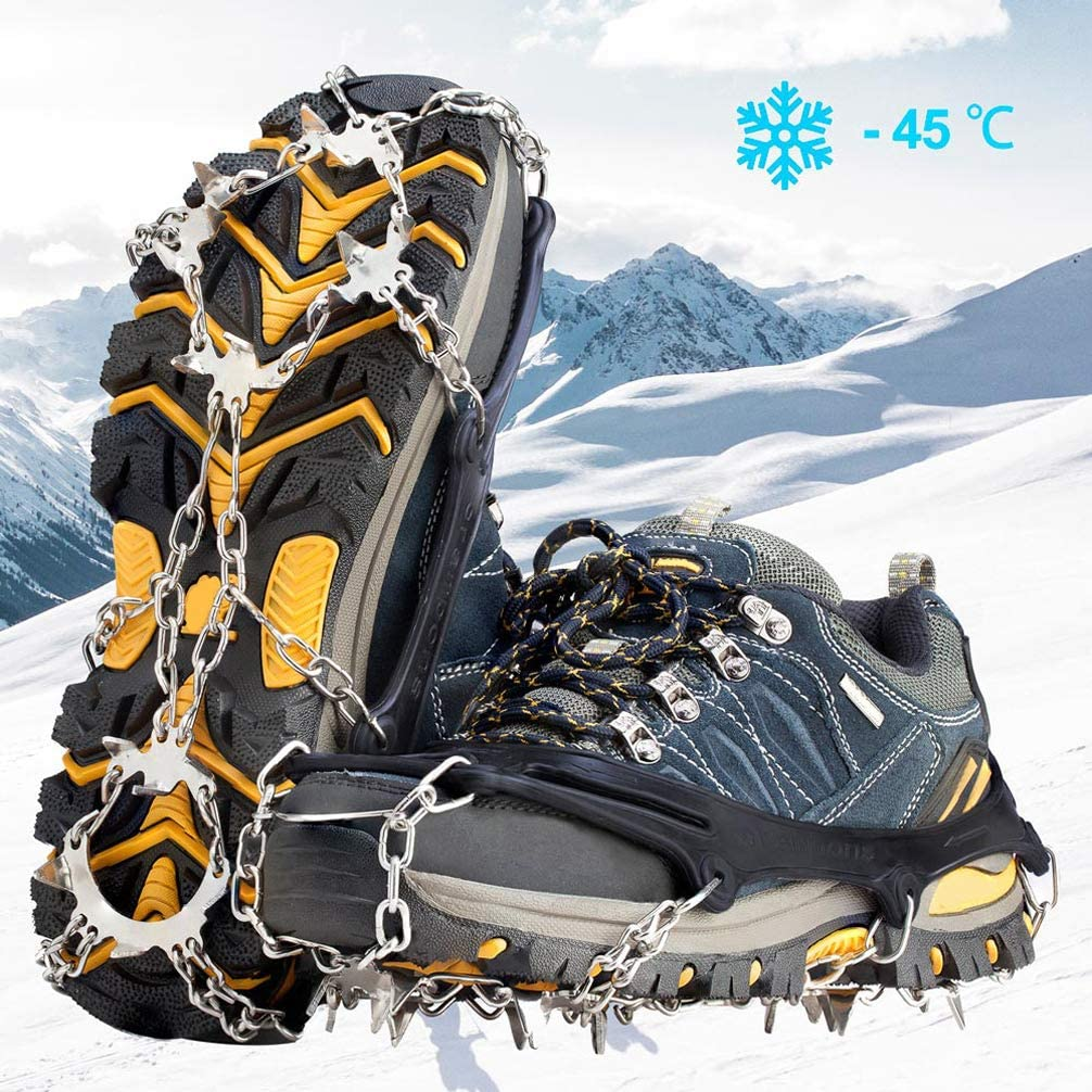OUTON 19 Spikes Crampons Traction Snow Grips Stainless Steel Ice Cleats for Boots and Shoes Safe Protect for Hiking Fishing Walking Climbing Jogging Mountaineering