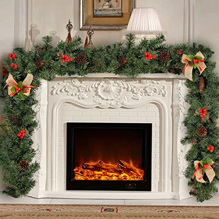1 8m Green Christmas Garlands Decorations With Berries Pine Cones Bows Pvc Artificial Wreath Fireplace Stair Xmas Tree Decors 6ft