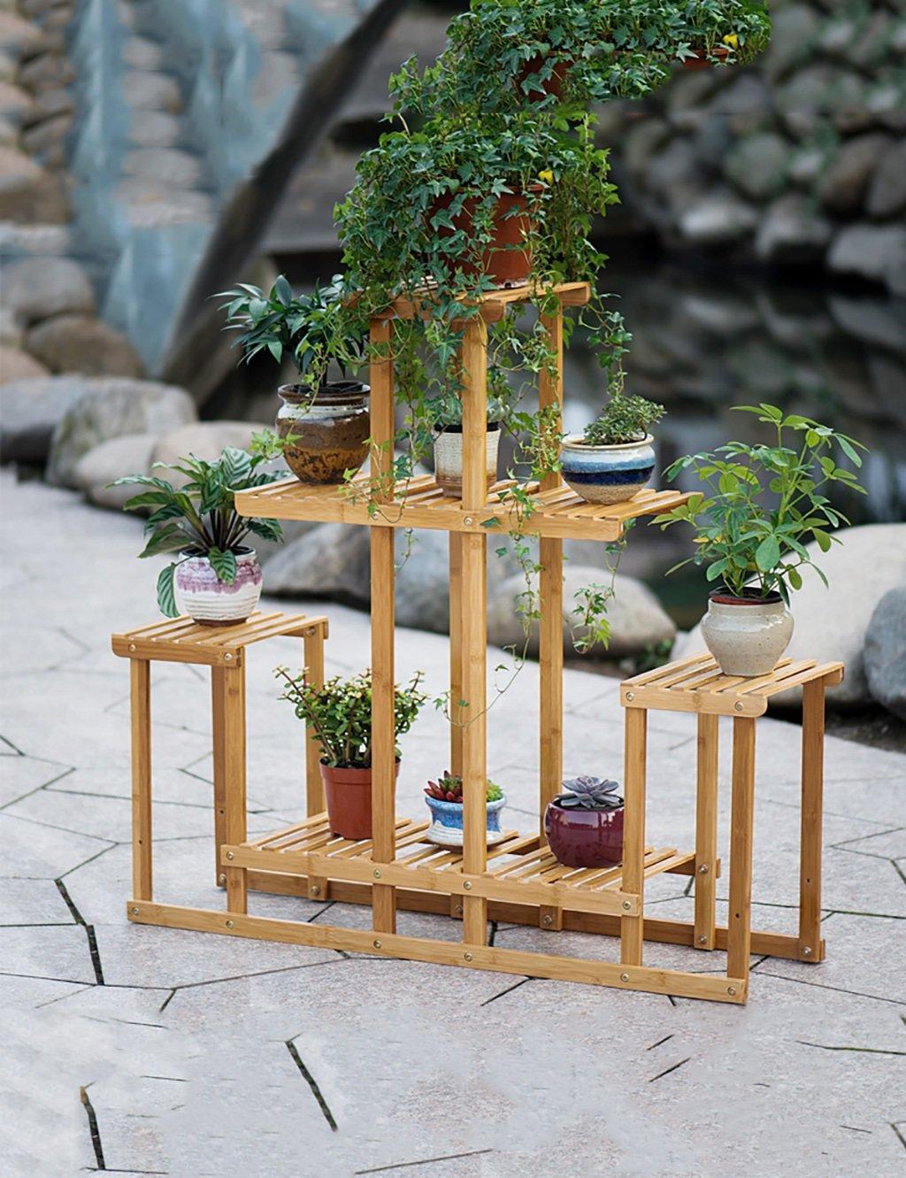 LB huajia ZHANWEI Holz Blume Rack-Balkon Wohnzimmer Innen Mehrschichtige Gefaltete Blumenständer, Blumentopf, Massivholz-Blume-Rack