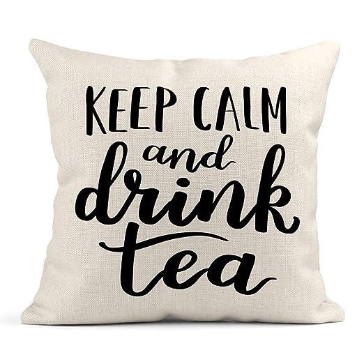 Kinhevao Cojín Desayuno Frase de té en el Que Dice Tinta ...