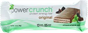 Power Crunch Whey Protein Bars, High Protein Snacks with Delicious Taste, Chocolate Mint, 1.4 Ounce (5 Count)