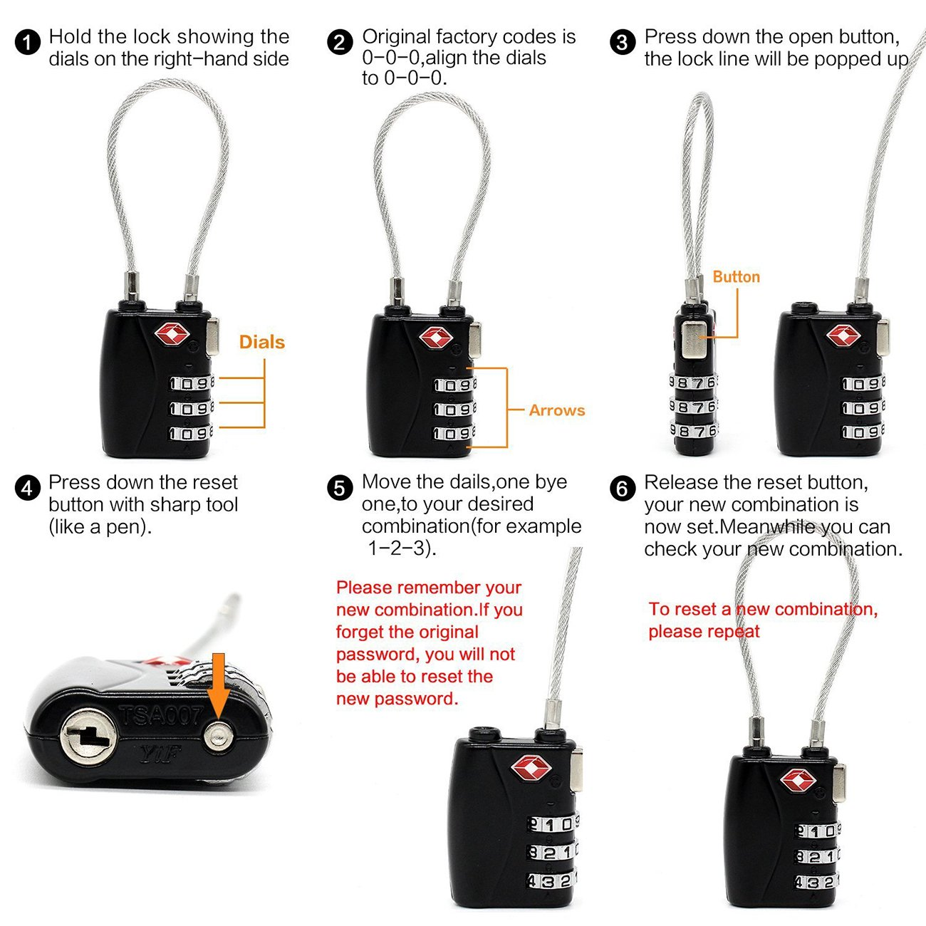 THEE TSA Approved Luggage Travel Lock Suitcase Baggage Locks Pack of 2