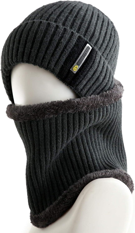 HJG Mens Beanie M/ütze Schal Set Slouch Warm Wollm/ütze Nackenw/ärmer f/ür den Winter,Grau