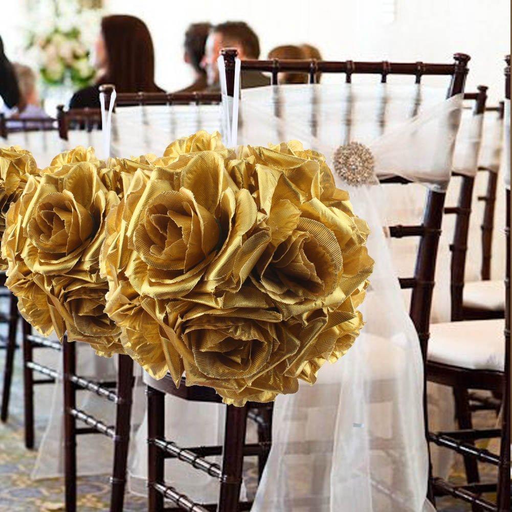 Amazon Aytai 5 Gold Artificial Silk Kissing Balls Rose Flower
