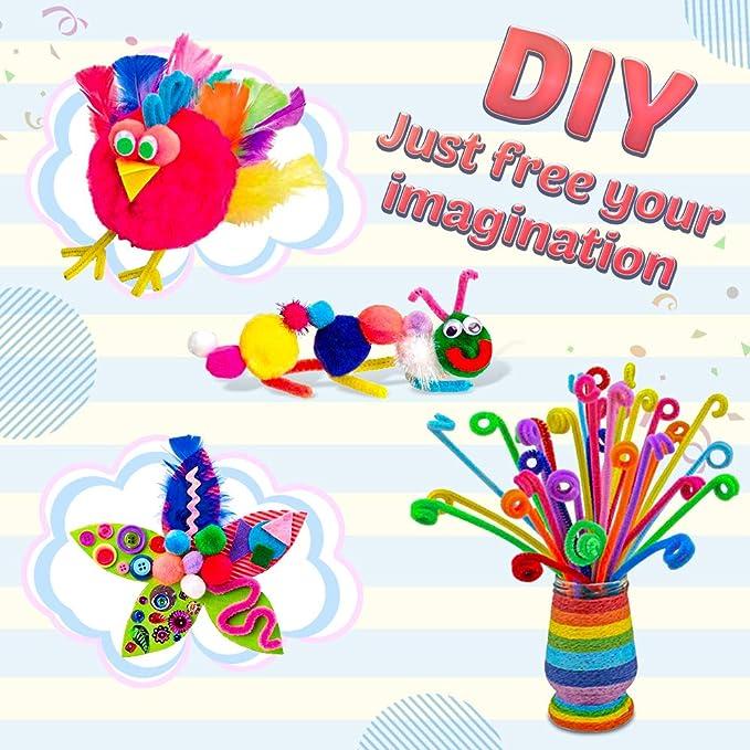 555 Kids Create Surtido De Plumas Manualidades Kit Arte Pompones de espuma adhesivas formas