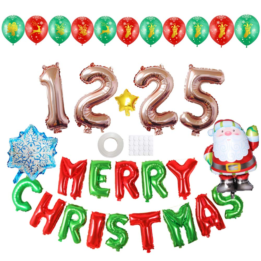 ADSRO 18PCS Christmas Aluminum Balloon, Party Decoration Christmas Balloon Merry Christmas Festive Atmosphere Layout