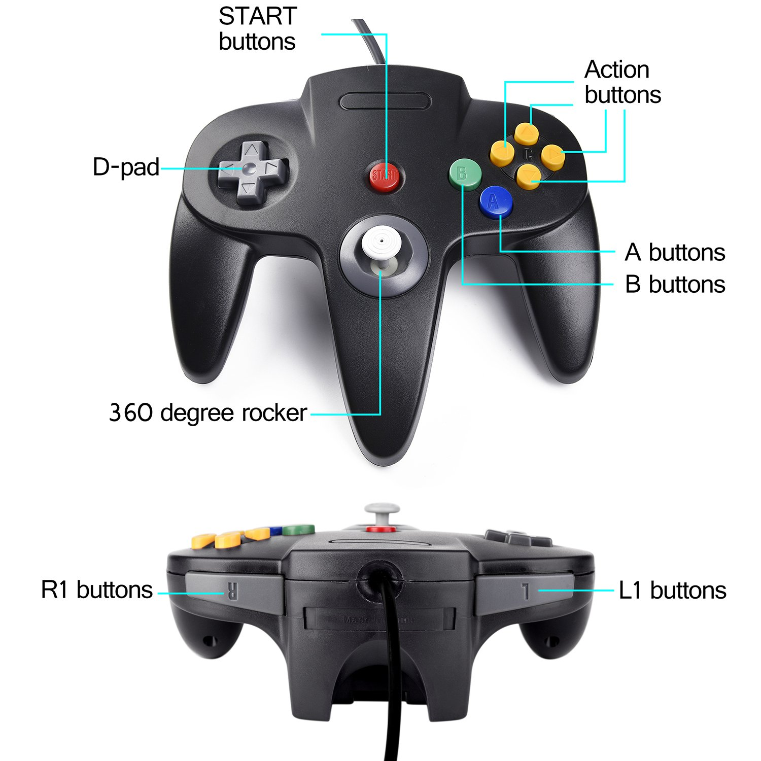 2xClassic 64 N64 Controller,kiwitata Retro Wired Gamepad Controller Joystick for N64 Console Nintendo 64 Video Games System Black+Gray by kiwitatá (Image #5)
