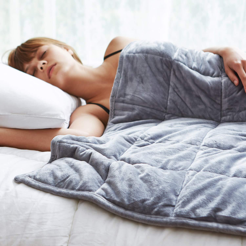 Sedona Velvet Adults Weighted Blanket 15lbs, Twin 48''x72'', Grey