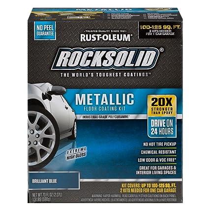 Rust-Oleum RockSolid Brilliant Blue Metallic Garage Floor Kit | 25X  Stronger Than Epoxy, 100-125 sq ft