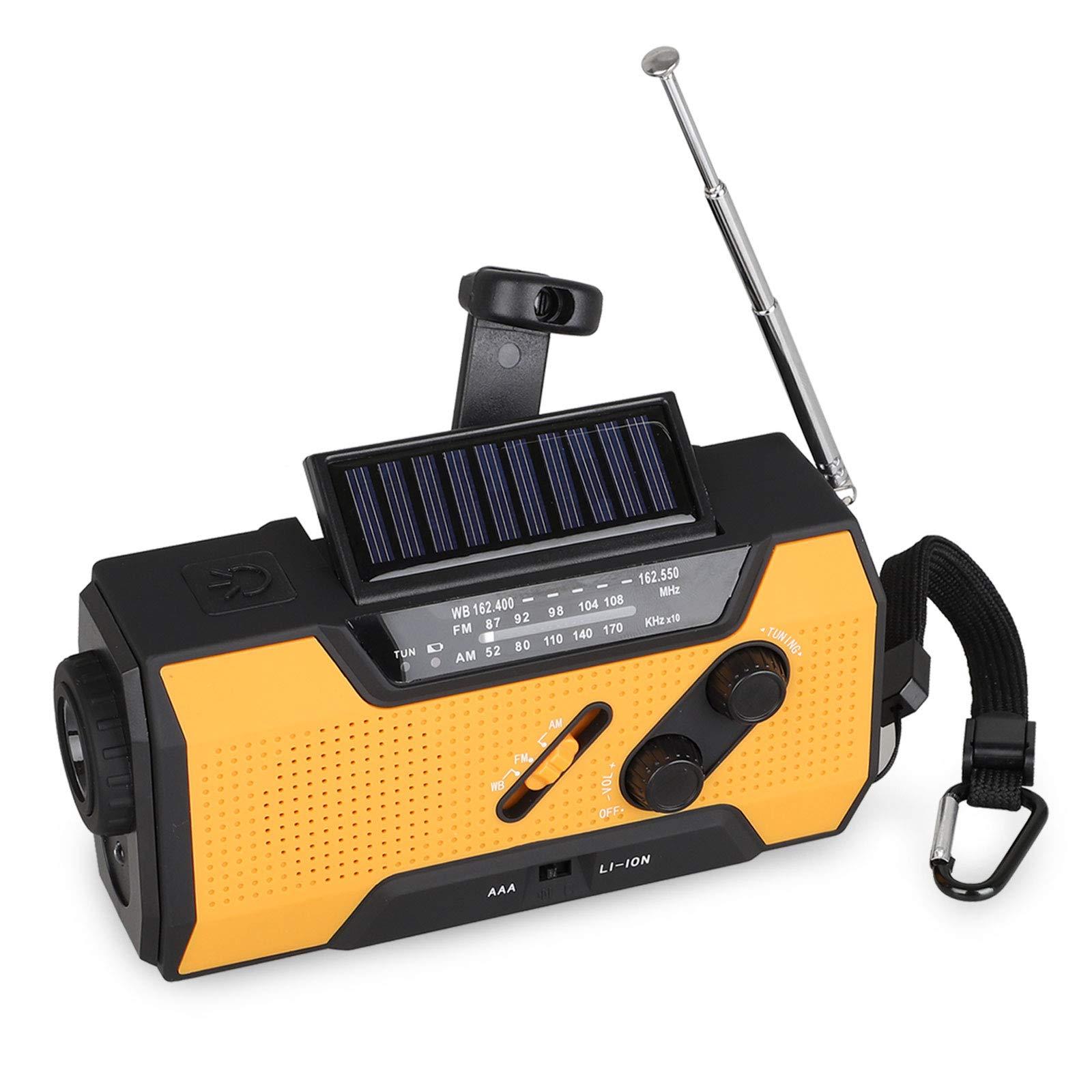 EEEKit Emergency Radios, Hand Crank Radio Weather Radios Solar Self Powered AM/FM Radio with 2000mAh Rechargeable Battery, Flashlight and Loudly Alarm