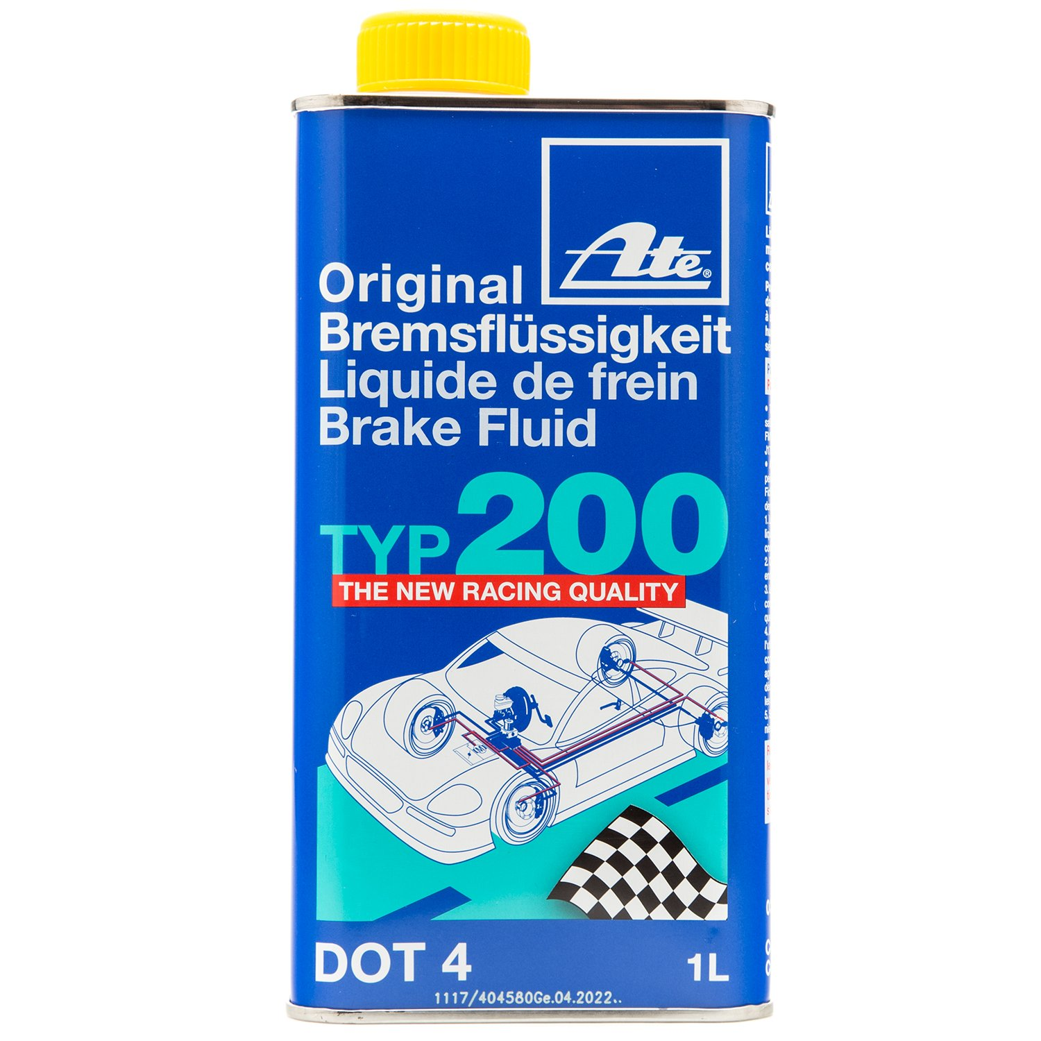 ATE 706202 Original TYP 200 DOT 4 Brake Fluid - 4 Liters by ATE