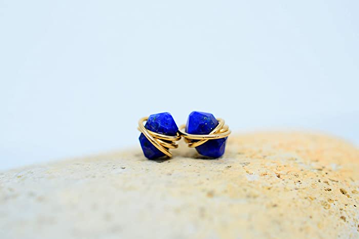 b756a0cee Amazon.com: Dainty Lapis Lazuli Stud earrings | 14K Gold Filled or ...