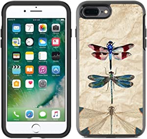 Teleskins Protective Designer Vinyl Skin Decals/Stickers Compatible with Otterbox Symmetry iPhone 8 Plus/iPhone 7 Plus Case - Vintage Dragonflies Retro Design Pattern - only Skins and not Case