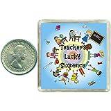 """Monetina portafortuna per la maestra """"Teachers Lucky Silver Sixpence Gift"""". Confezione ricordo inclusa. Splendida idea regalo per Natale, compleanno, fine della scuola o come ringraziamento."""