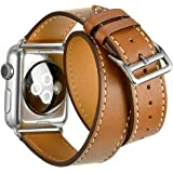 Valkit for Apple Watch Band - iWatch Bands 42mm Genuine Leather Strap iPhone Smart Watch Band Bracelet Replacement Wristband with Stainless Steel Adapter Clasp for Apple Watch 2 1, Double Tour - Brown