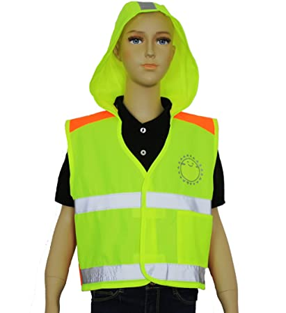 c720f87f4c6c4 Safety Depot High Visibility Children (Kids) Light Weight Reflective Safety  Vest with Hoodie, Hook & Loop Closure and Pocket (Lime, Large) - -  Amazon.com