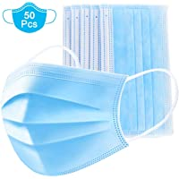 Dispositivo de protección desechable de 50 piezas, sistema de protección de 3 capas, con elástico desechable y filtro de polvo para evitar el polvo y la contaminación atmosférica, doméstico (azul)