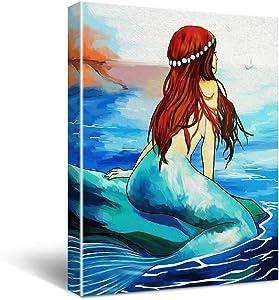 Mermaid Canvas Wall Art Decor For Bathroom, Mermaid Sea Theme Bathroom Wall Decor, Modern Girls Room Decor, Nautical Theme Mermaid Bathroom Decor For Walls Size 12x16