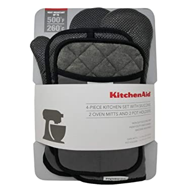 KitchenAid 4 Piece Kitchen Set w/Silicone 2 Oven Mitts, 2 Pot Holders (Grey)