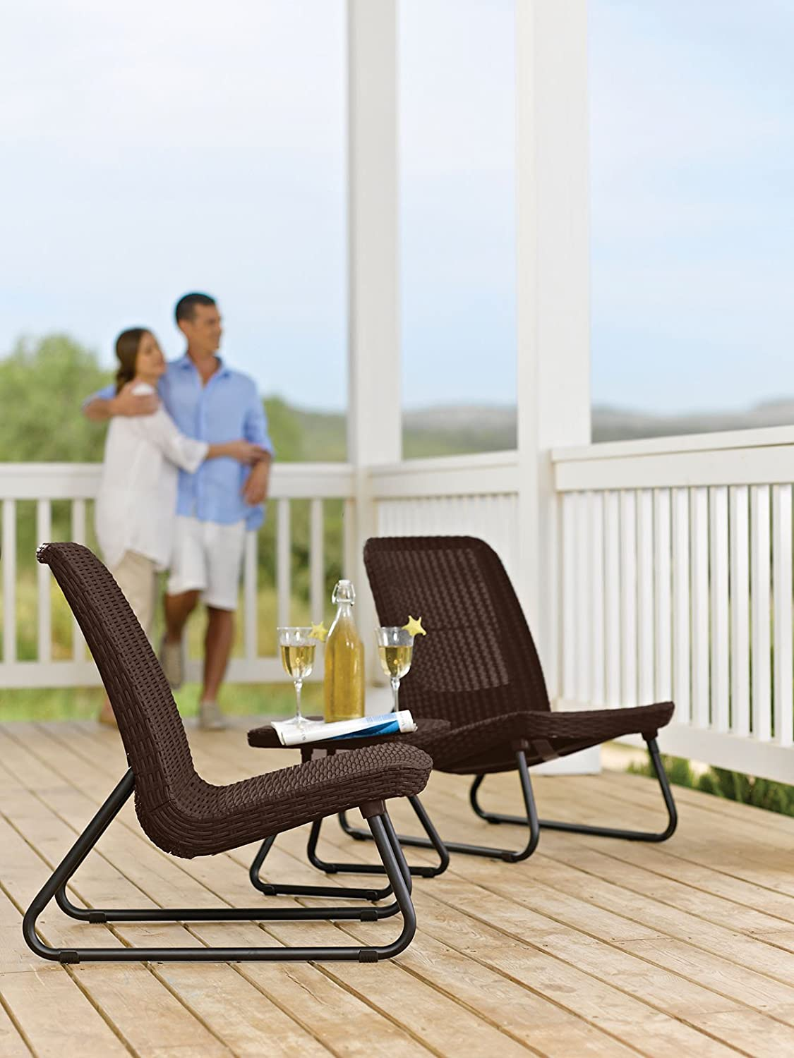 comfortable porch furniture. amazoncom keter rio 3 pc all weather outdoor patio garden conversation chair u0026 table set furniture brown lawn comfortable porch o