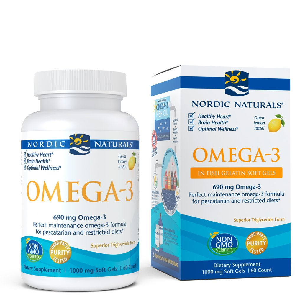 Nordic Naturals Omega-3 Fish Gelatin - Aids in Cognition, Heart Health, and Immune Support, Lemon Flavor, 60 Soft Gels by Nordic Naturals