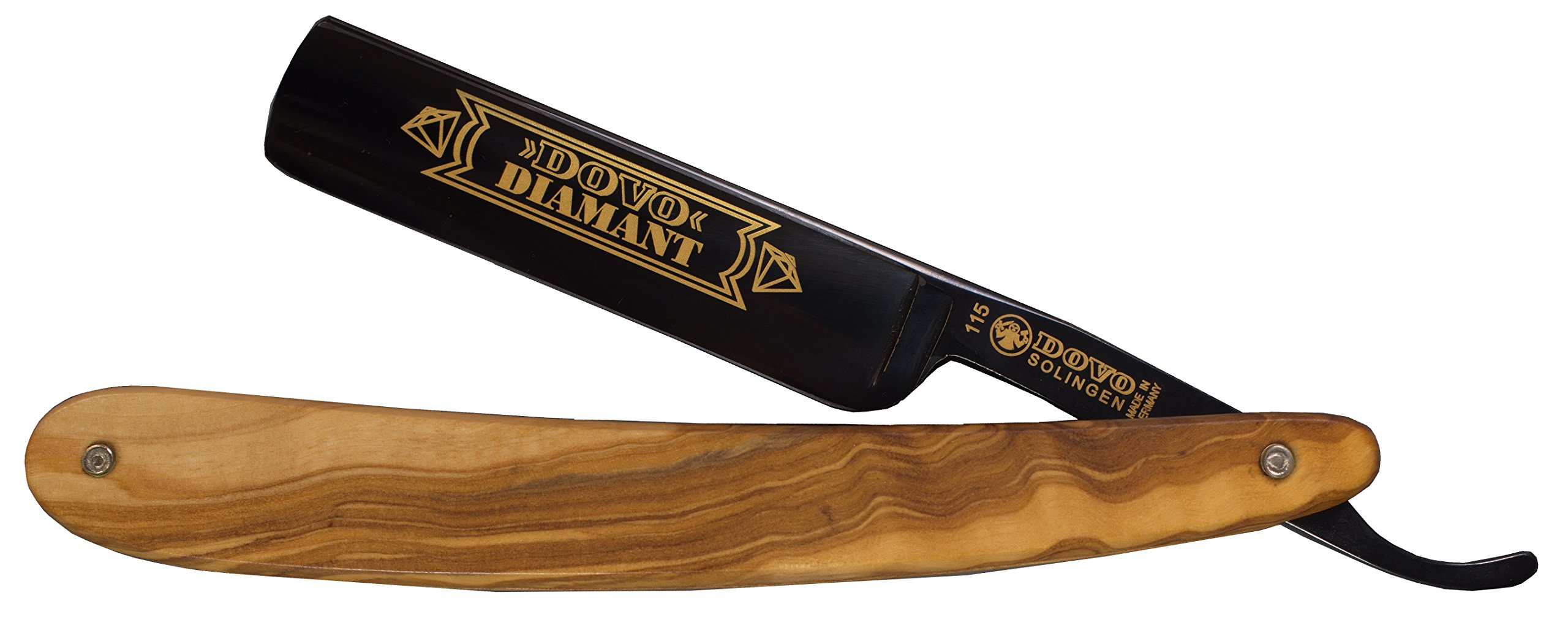 Dovo 1155861 Diamant 5/8'' Oxidized Carbon Steel Straight Razor, Full Hollow Ground, Olivewood Scales, with Shave Ready Option (Shave Ready, Unsealed)