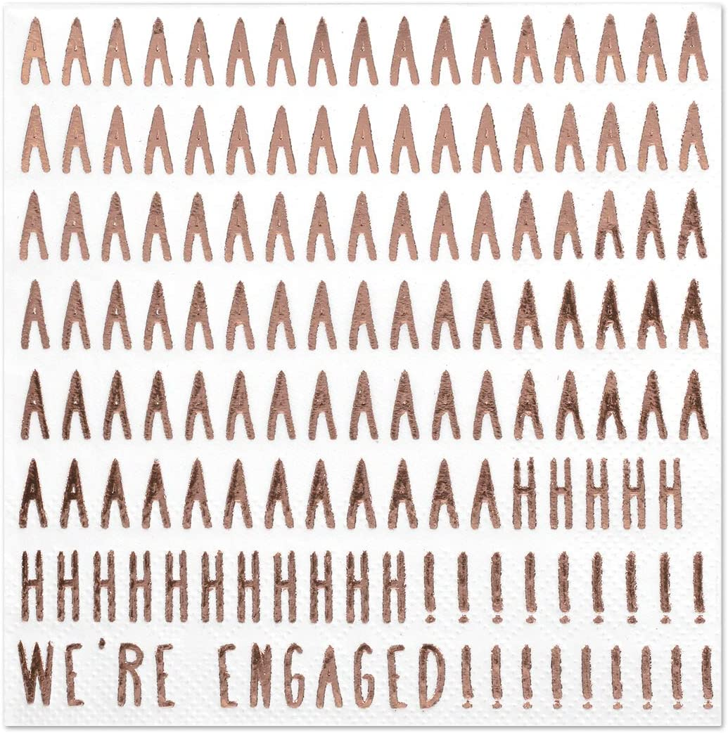 Andaz Press We're Engaged, Funny Quotes Cocktail Napkins, Rose Gold Foil, Bulk 50-Pack Count 3-Ply Disposable Fun Beverage Napkins for Engagement Party, Bridal Shower, Bar, Bachelorette Party