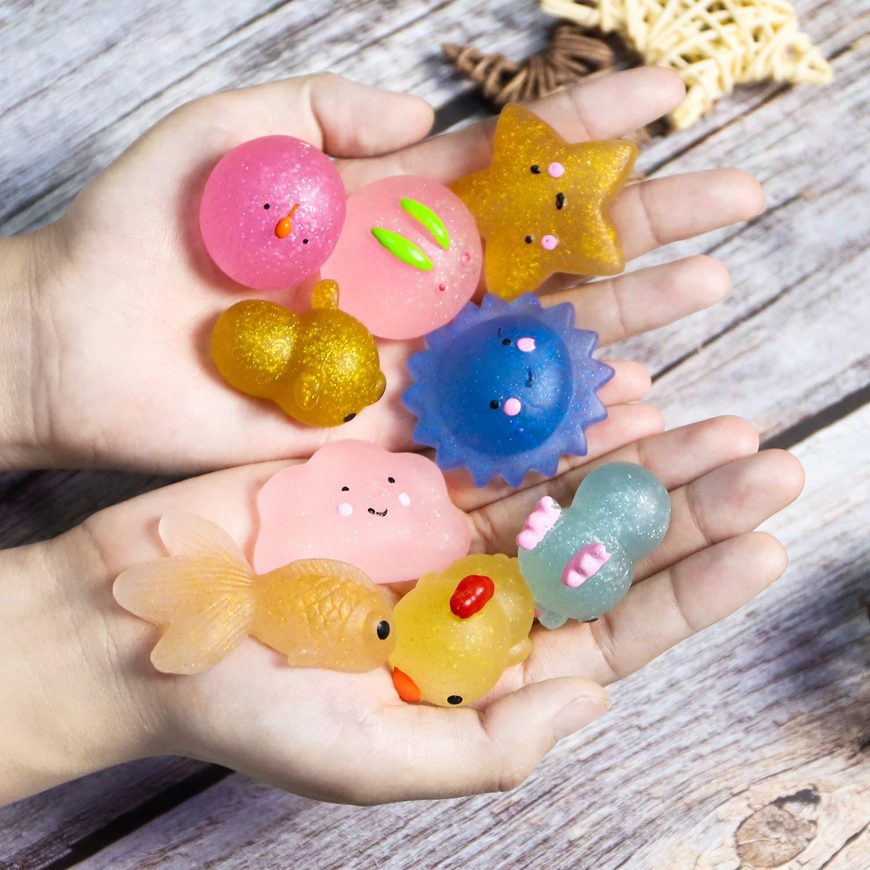 WATINC Random 70 Pcs Squishies Including 20 Pcs 2nd Generation Glitter Squishies 30 Pcs Mochi Squishies 20 Pcs Slow Rising Squishies for Mini Soft Cute Animal Cat Kid Toys Party Favors Stress Relief by WATINC (Image #4)