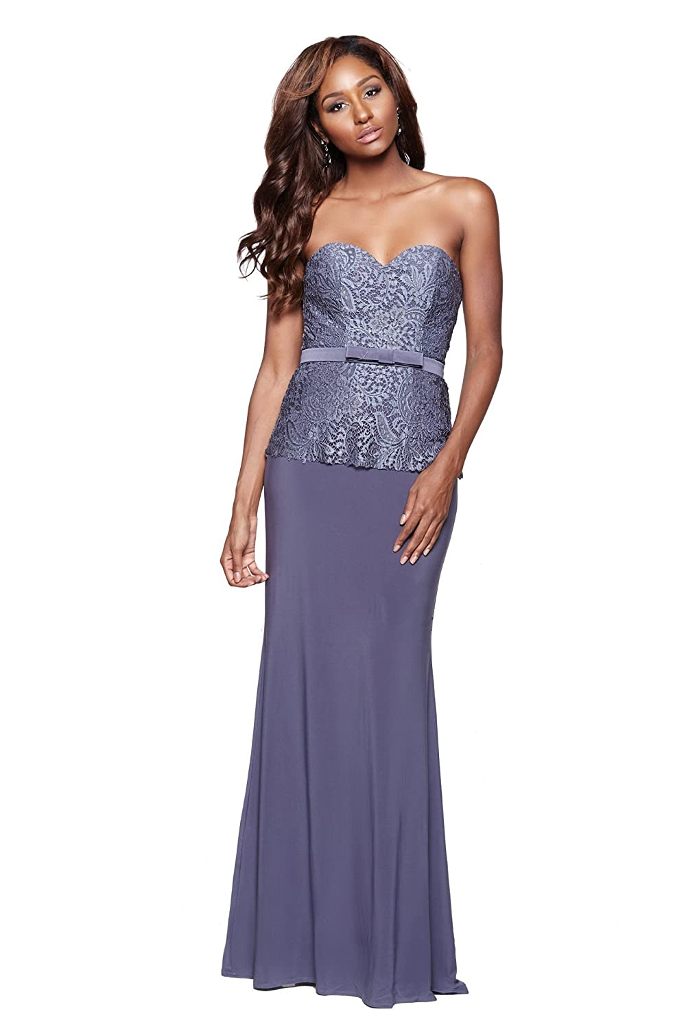 b8230a8724 Amazon.com  MILANO FORMALS Noomi - Strapless Sweetheart Long Women Formal  Dress With Bow