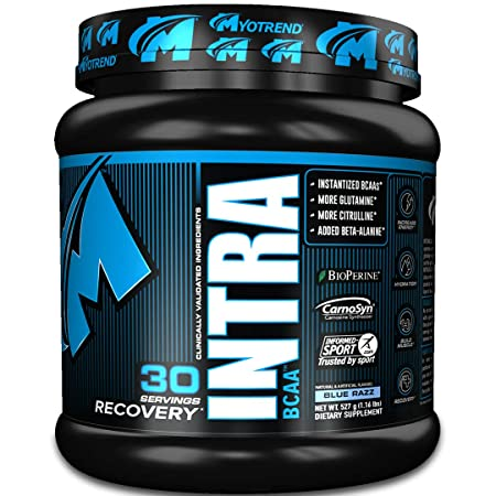 INTRABCAA – Blue Razz 527g – Training Energy, Strength, Recovery, and Hydration Transparent Label