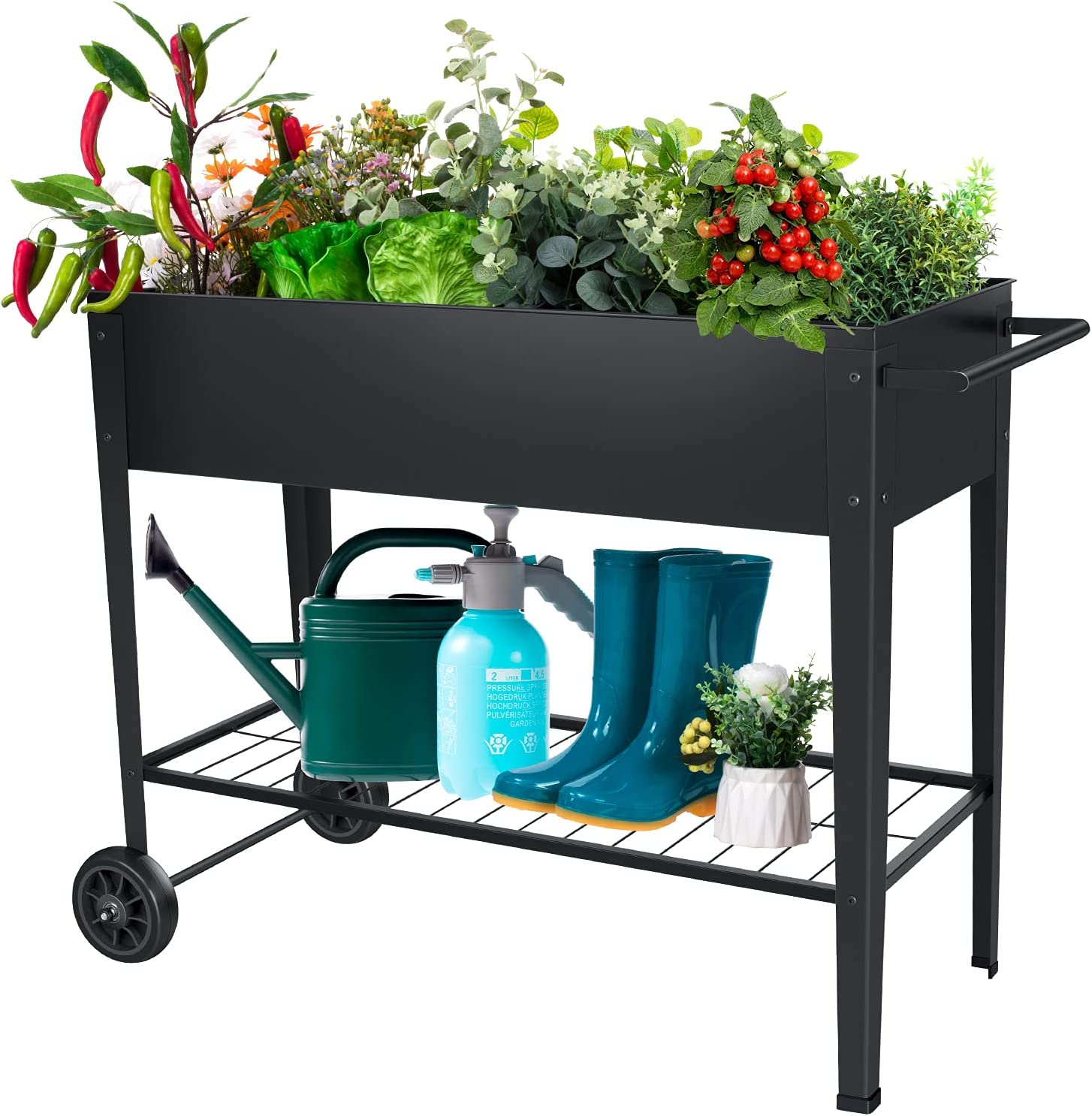 FXW Raised Garden Bed, Ergonomic Metal Garden Boxes with Legs on Wheels, Mobile Planter Boxes Outdoor Stand for Vegetables Flowers Herb Garden Patio Apartment Backyard Balcony