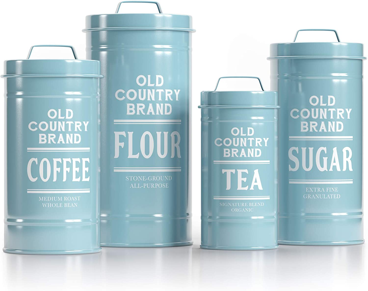 Barnyard Designs Decorative Nesting Kitchen Canister Jars with Lids, Seafoam Blue Metal Rustic Vintage Farmhouse Container Decor for Flour Sugar Coffee Tea Storage, Set of 4, Largest is 5.5