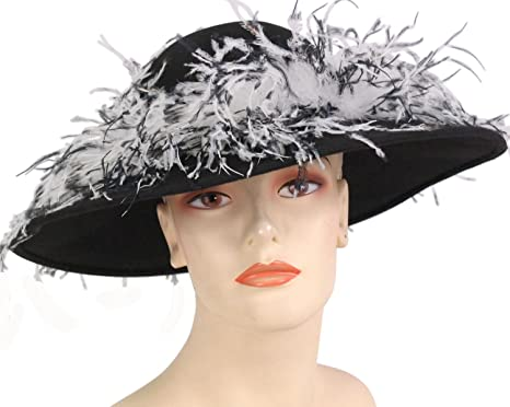 2934937288c Ms Divine Women s Large Brim Wool Church Dresss Formal Hats  2392 (Black  White