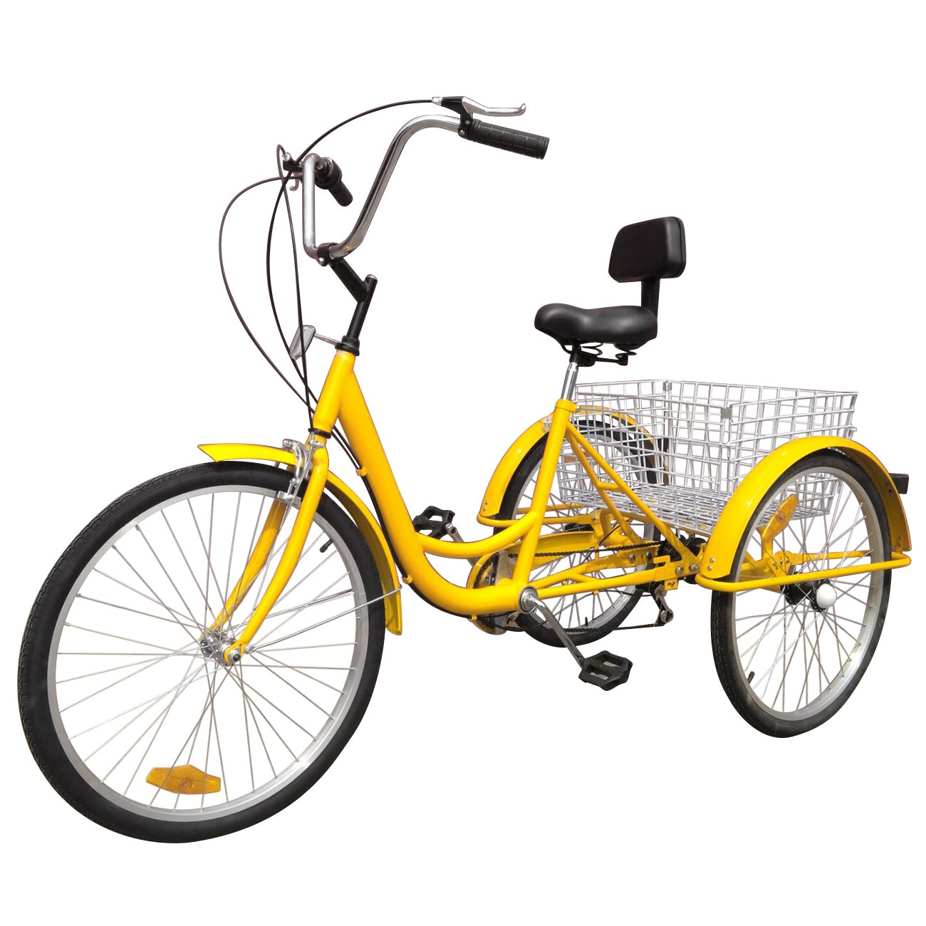 IglobalbuyYellow 24-Inch 6-Speed Adult Tricycle Trike 3-Wheel Bike Cruise Bike with Basket by Iglobalbuy (Image #4)