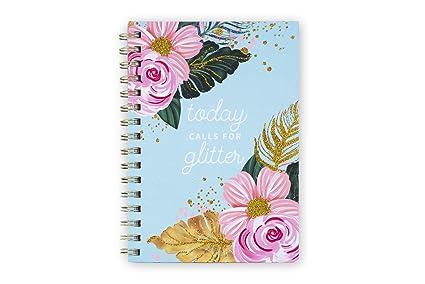 Tri Coastal Design Cuaderno Espiral Con Hojas De Rayas Con Tapa Rígida Decorada En Papel De Aluminio O Glitter 21x14x2 Cm Ideal Para Llevar En