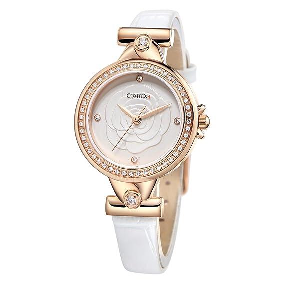 Reloj mujer oro rosa brillantes cristal a la moda con correa ...